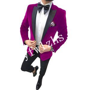 Handsome Velveteen Groomsmen Peak Lapel Groom Tuxedos Mens Wedding Dress Man Jacket Blazer Prom Dinner suits (Jacket+Pants+Tie)W298