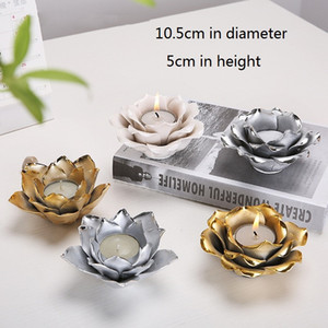 Nordic Candles Holder Plating Silver Gold Lotus Rose Shape Candlestick Valentine Wedding Festival Home Tealight Candles Decor GWD3141