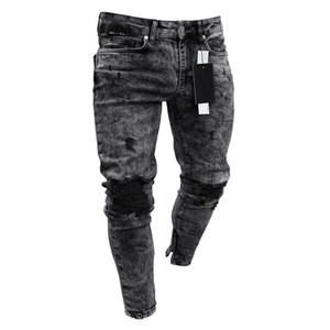 Hombre Skinny Jeans Hombre Rippado Frayed Fit Fit Denim Lápiz Pantalones Hip Hop Gray Greywear Streetwear Plisado Pantalones casuales Pantalones vaqueros