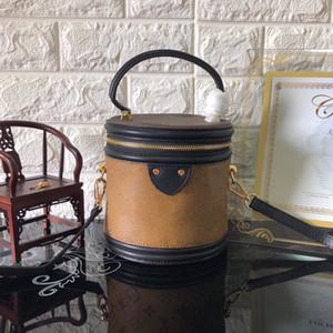 CANNES 43986 Beauty Case Reverse Coated Canvas Petite Size Crossbody Removable Strap Drum Shoulder Bag One Handle Cylinder Mini Bag