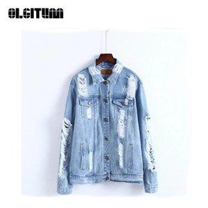 New OLGITUM 2020 Women Demin Jacket Autumn Long Sleeve Solid Hole Jacket For Women High Quality Jeans Female JK597