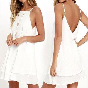 2020 Women Summer Dress Boho Style Off Shoulder Sleeveless Chiffon Beach Dress Tunic Sundress Loose Party Vestidos