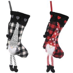 Christmas Stockings Burlap Plaid Style Snowflake Santa Snowman Reindeer Plush Faux Fur Cuff Xmas Decor DHC2117