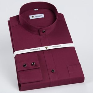 Cuello con bandas para hombres (collar de mandarín) Vestido sólido camisas de un solo parche de bolsillo de manga larga de manga larga camisa de algodón de la blusa