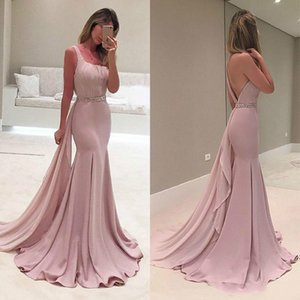 Stunning 2016 Light Pink One Shoulder Mermaid Dresses Evening Wear Sexy Backless Beaded Sash Pleats Long Formal Evening Gowns