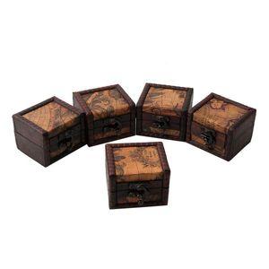 Javrick Vintage Mapa De Madeira De Armazenamento Caixa Caso Jóias Cufflinks Peito Pequeno Presente Novo