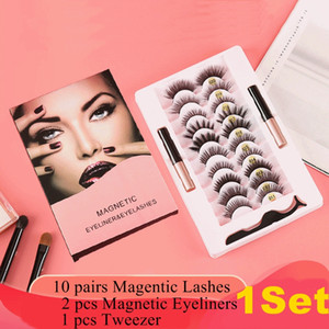 10 Pairs Manyetik Lashes Yanlış Vizon Kirpikler Metal Twezzer Çift Manyetik Kalıcı Eyeliner Seti Manyetik Yanlış Kirpik Göz Uzatma