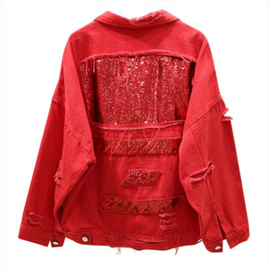 PERHAPS U Red White Black Denim Jacket Button Hole Pocket Long Sleeves Loose Sequined Patchwork Turn Down Collar C0181