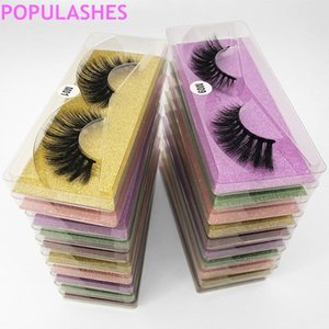 Wholesale Natural False Eyelashes Bulk 3d Faux Mink Eye Lashes Color Base Card Transparent Plastic Case Packaging Fake Eye Lash