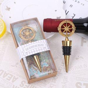 New Arrival Wedding Favors Rudder Wine Bottle Stopper Nautical Themed Compass Wedding Shower Favors GWC3960