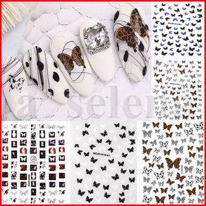 7 Stili Lace Leopard Stampa Colore Butterfly Nail Art Stickers Olografico 3D Gradiente Farfalle Nail Decalcomanie Decorazione manicure fai da te