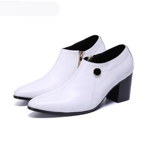 Stivali da uomo a mano a mano di lusso Stivaletti a punta con zip stivaletti in pelle di modo uomo bianco party wedding botas hombre! Grande taglia