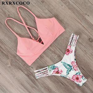 Rxrxcoco bandage swimwear mulheres brasileiro biquíni maiô 2019 sexy tanga biquíni conjunto de maiô feminino push up flower hathers1