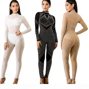 2018 Spring Autumn New Women Fashion Sexy Sequins Skinny Slim Hot Drilling Back Zipper Perspective One Piece Suit Bling Nightclub Jumpsuits