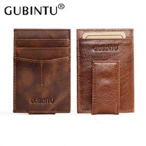 Gubintu vintage magro marrom genuíno carteira de couro clipes de dinheiro masculino case