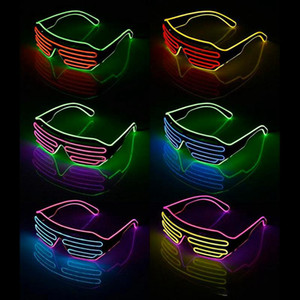 Party LED Glasses Wire Fluorescent Flash Glass Window New Year Easter Graduation Birthday Party Bar Decorative Luminous Bar Eyewear DHE3410