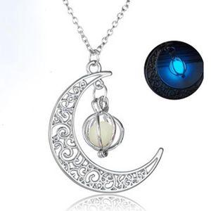 Jewelry Luxury Necklace Glow In The Dark Luminous Necklace Moon&pumpkin Pendant Silver Plated For Women Bulk