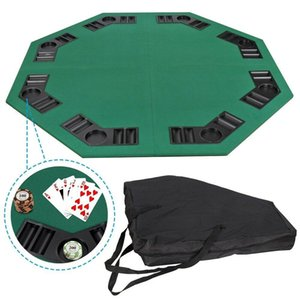 """Details about 48"""" Folding Octagon Poker Card Game Table Top Cup Chip Holders Blackjack Party"""
