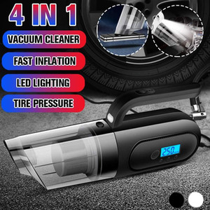 4 in 1 Car Handheld Vacuum Cleaner Digital Tire Inflator Pump Pressure Gauge with LED Light Wet Dry for Car Home Cleaning 120W