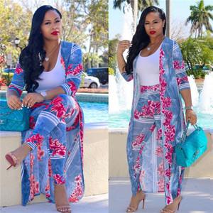 Digital Print Long Coat Cape Fashion Casual Suits Plus Size Women Clothes Women 2 Piece Clothing Set Sexy