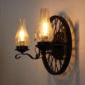 American Vintage Wall Lamps Kerosene Lamp 2 Heads E27 Edison LED Indoor Wall Light for Home Living Room Restaurant Lighting