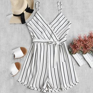 Womens Sleeveless Strappy Short Playsuits Striped Cami Belt Romper Jumpsuit WomenS Casual Loose Fashion Summer Overalls 30
