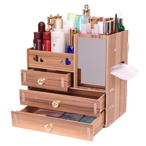 Jewelry Container Wood Drawer Organizer Handmade Cosmetic Storage Organizer Box Makeup Organizer DIY Wooden 3 Layer Drawer 110L Z1123