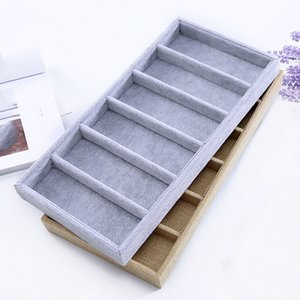 Sunglasses Display Box 6 Grids Linen Velvet Jewelery Display Packaging Props Jewellery Organizer Tray Fashion Cases Packaging Z1123