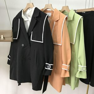 Long sleeve solid color straight tube cardigan Windbreaker Jacket Women's autumn new style i#8 CP
