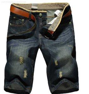 hole Men's summer big jeans men's trend straight 5-point pants loose beach pants