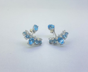 UUE Jewelry Blue cubic zirconia Rhodium over silver earrings Hot blue white gold and silver earrings Fine workmanship, fashionable and gen