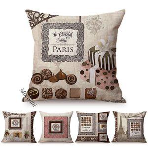 Cushion Decorative Pillow Fashion Paris Vintage Poster Design Cushion Cover Dessert Shop Bar Coffee Sofa Decoration Case Square Cushions