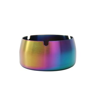 Stainless Steel Ashtray Gold Plated Household Hotel Restaurant Cigarette Dish Rainbow Simplicity Fall Prevention Ashtraies New 9 8ya M2