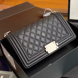 Mujeres Messenger Bag Flap Purse Handbag Fashion High Quality Caviar Caviar Hide Genuine Cuero Hasp Cadena Llano Bolsas De Hombro