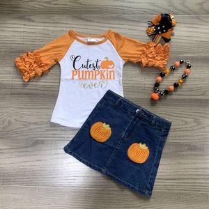 Girlymax halloween fall winter baby girls Jeans children clothes boutique icing cutest pumpkin top denim skirt match accessories Y1113