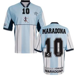 Тайское качество Аргентина Ретро Джерси 1986 г. Диего Армандо Марадона Футбол для футбола 2001 г. Аргентина Диего Марадона Винтажная классическая футболка