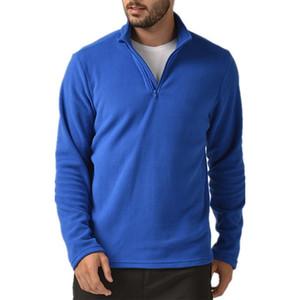 Vogue Hommes Pardessus Automne Hiver Veste polaire thermale extérieure coupe-vent Camping Randonnée Chasse Half Zip Fleece Top Jacket Y1117