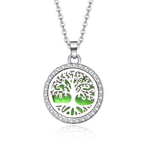 Tree Of Life Aroma Box Necklace Magnetic Stainless Steel Aromatherapy Essential Oil Diffuser Perfume Box Locket Pendant Jewelry