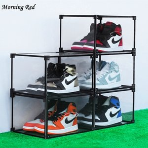 New Full Transparent Shoe Box Acrylic Shoes Storage Dust Proof Display Sneakers Box Organizer Can Be Stacked Plastic Container LJ200812