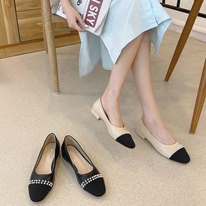 Couleur des perles assorties Chaussures Simple Femme 2020 Été Nouveau Style Chunky Heel Fairy Vent Tête ronde Tête Ronde Dames 'Chaussures C1120
