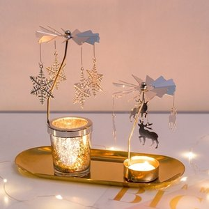 DIY Rotating Windmill Candlestick Metal Creative Candle Holders Gift Girl Table Decor Owl Snowflake