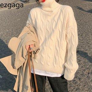 Ezgaga Turtleneck Pull Pullover Femme Hiver Fashion Streetwear Mesdames Coréen Hautes Tops en vrac Étail De Chemin d'Outwear Pull