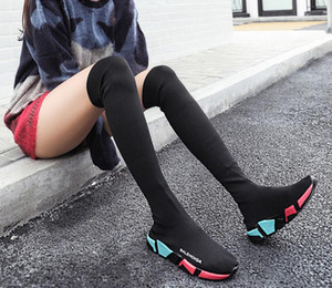 2021 Winter Over The Knee Women Black Solid Color Sports Stretch Slip on Shoes Round Toe Woman Running Long Sock Casual Boots Size 35-40