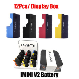 Authentic IMINI V2 batteria 650mAh preheat VV Vape Box kit mod per 510 filettatura spessa spessa carrelli carrelli 12pcs / display imballaggio 100% originale