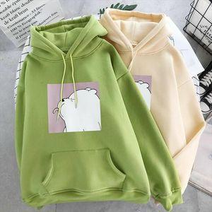 Winter Womens Sweatshirts Warm Plus Velvet New Harajuku Cartoon Printing Hoodies Student Tops Drop Shipping