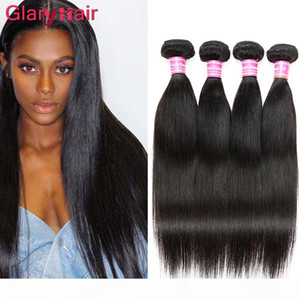 Peruvian Virgin Hair Bundle offres Straight Human Hair Extensions Wholesale Double Double Taft Silky Remy Silky Hair Weave UK DH Gates Color1b