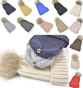 2021 Chunky Ribbed Knitted Beanies Cuffed Hat Solid Colors Slouchy Skull Caps with Detachable Pom Unisex Women men Ski Sport Hats LY12021