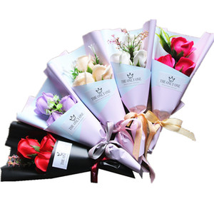 3 Head Soap Rose Flower Bouquet Valentine Day Gift Rose Carnation Mothers Teacher Day Flower Present 150pcs T1I3519