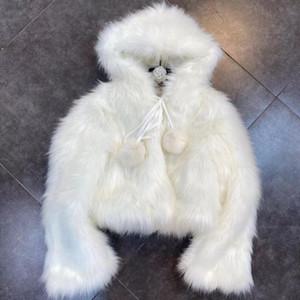 DEAT 2020 Winter New Arrivals Long Sleeve Faux Fur Hooded Cotton Coat Women Jacket Streetwear ML279