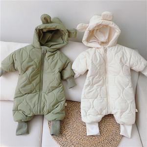 Baby Boys Girls Thick Romper Hoodie Winter Green Beige Padded Longsleeve Warm Bodysuit Ear Korean Style